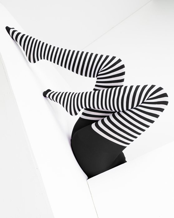 Black Womens White Striped Tights Style# 1203 | We Love Colors