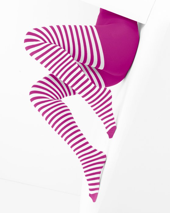 Fuchsia White Striped Tights Style# 1203 | We Love Colors