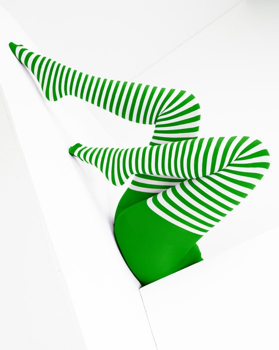 Kelly-Green Womens White Striped Tights Style# 1203 | We Love Colors