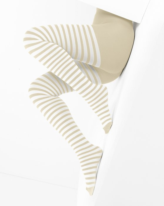 Light-Tan Womens White Striped Tights Style# 1203 | We Love Colors
