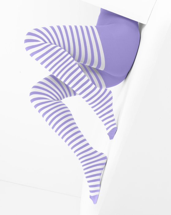 Lilac White Striped Tights Style# 1203 | We Love Colors