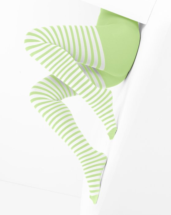 Mint Green White Striped Tights Style# 1203 | We Love Colors