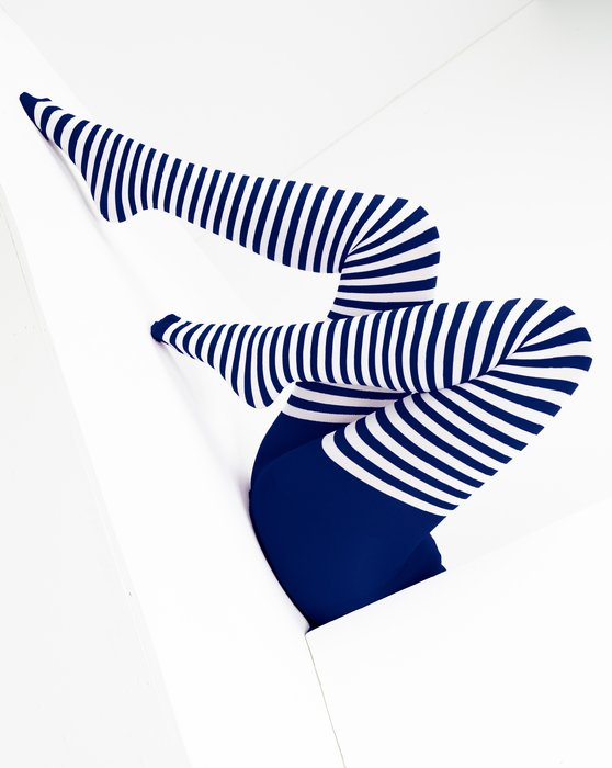 Navy White Striped Tights Style# 1203   We Love Colors