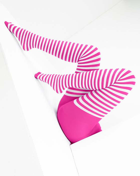 Neon-Pink Womens White Striped Tights Style# 1203 | We Love Colors