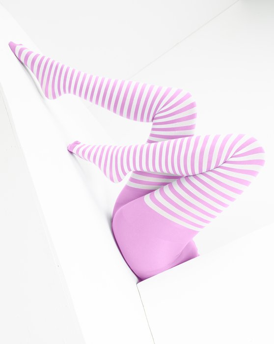 Orchid Pink White Striped Tights Style# 1203 | We Love Colors