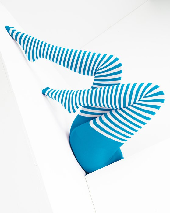 Turquoise White Striped Tights Style# 1203 | We Love Colors