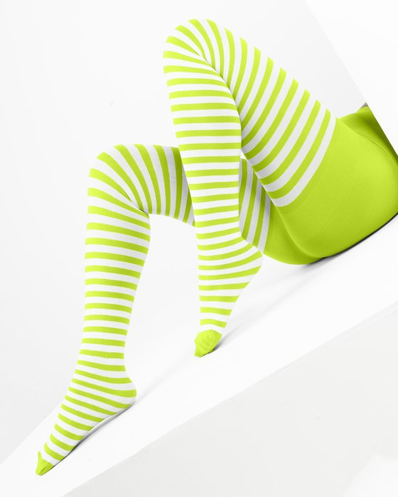 Neon Yellow White Striped Tights Style# 1203 | We Love Colors