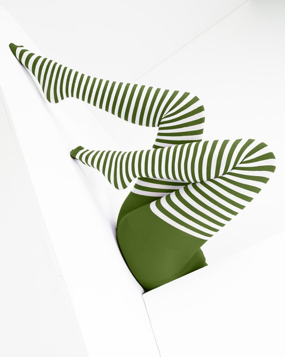 Olive-Green Womens White Striped Tights Style# 1203 | We Love Colors
