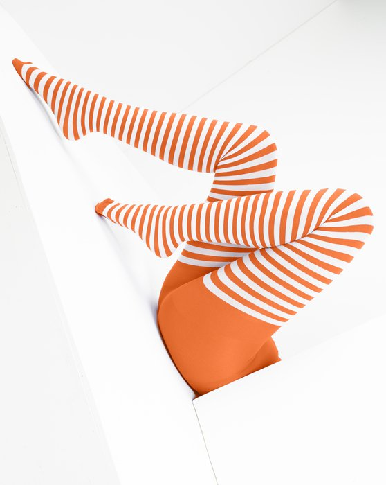 Orange Womens White Striped Tights Style# 1203 | We Love Colors