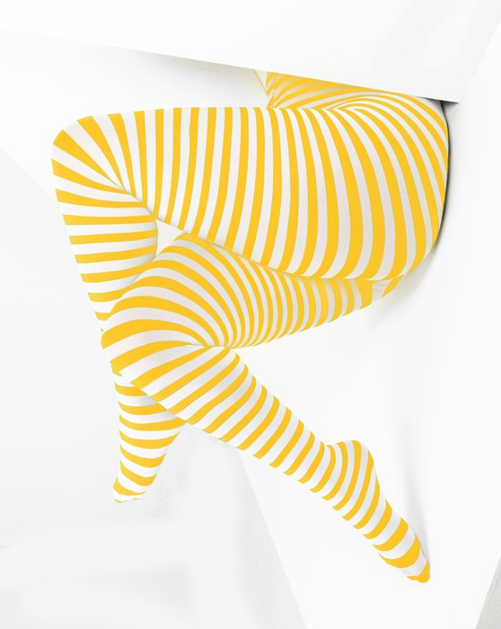 Gold White Plus Sized Striped Tights Style# 1204 | We Love Colors