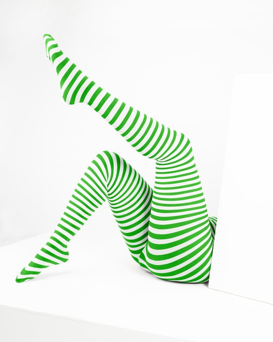 Kelly Green White Plus Sized Striped Tights Style# 1204 | We Love Colors
