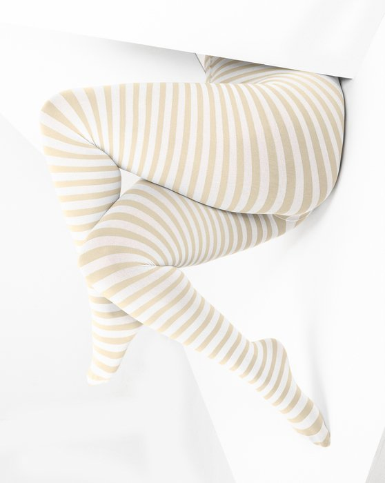 Light Tan White Plus Sized Striped Tights Style# 1204 | We Love Colors