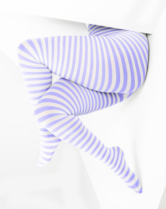 Lilac White Plus Sized Striped Tights Style# 1204 | We Love Colors