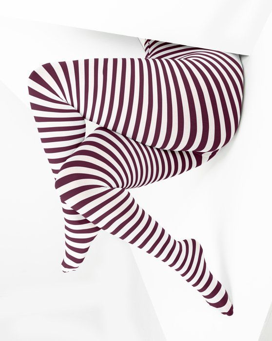 Maroon White Plus Sized Striped Tights Style# 1204 | We Love Colors