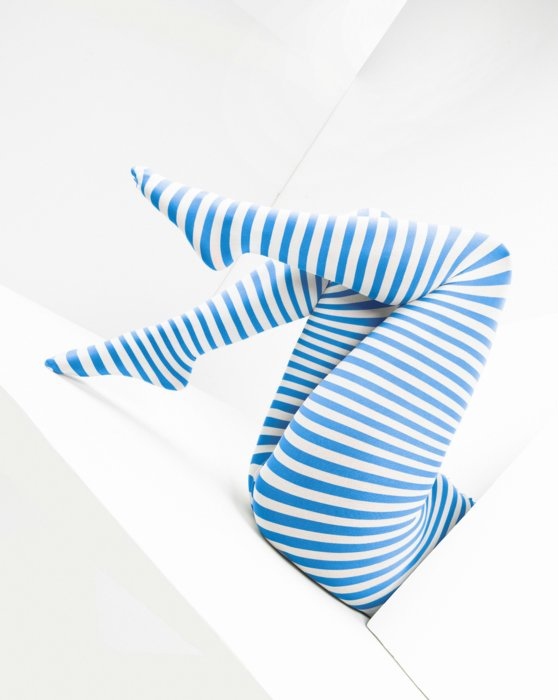 Medium-Blue Womens White Plus Sized Striped Tights Style# 1204 | We Love Colors