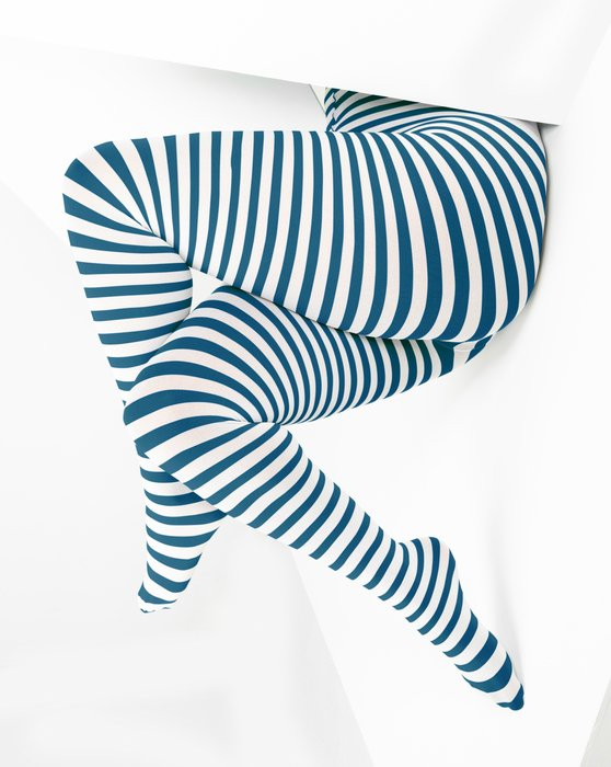 Teal Womens White Plus Sized Striped Tights Style# 1204 | We Love Colors