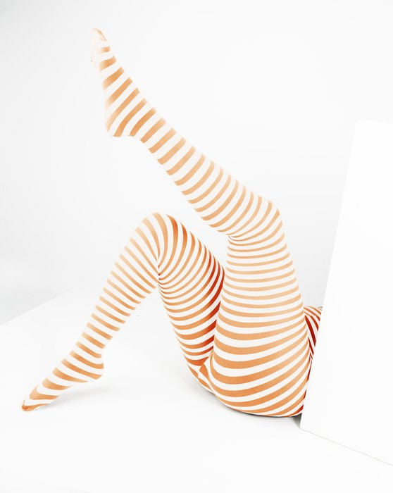 Light-Orange Womens White Plus Sized Striped Tights Style# 1204 | We Love Colors