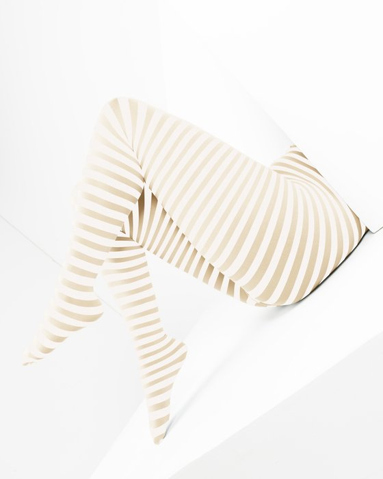 Light-Tan Womens White Plus Sized Striped Tights Style# 1204 | We Love Colors