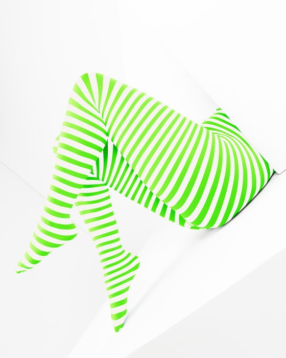 Neon-Green Womens White Plus Sized Striped Tights Style# 1204 | We Love Colors