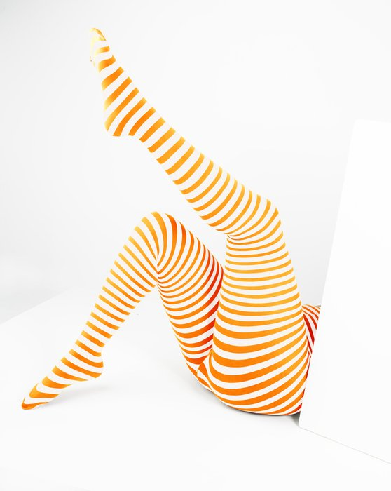 Neon Orange Womens White Plus Sized Striped Tights Style# 1204 | We Love Colors