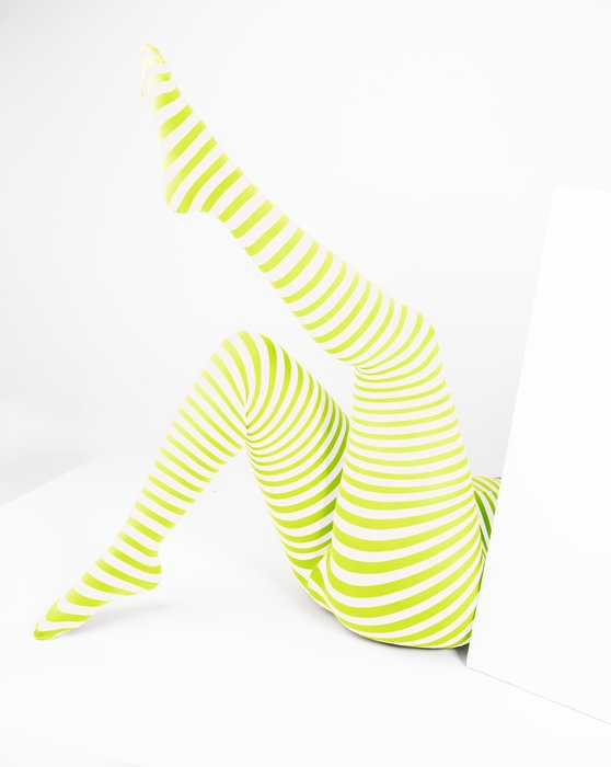 Neon Yellow Womens White Plus Sized Striped Tights Style# 1204 | We Love Colors