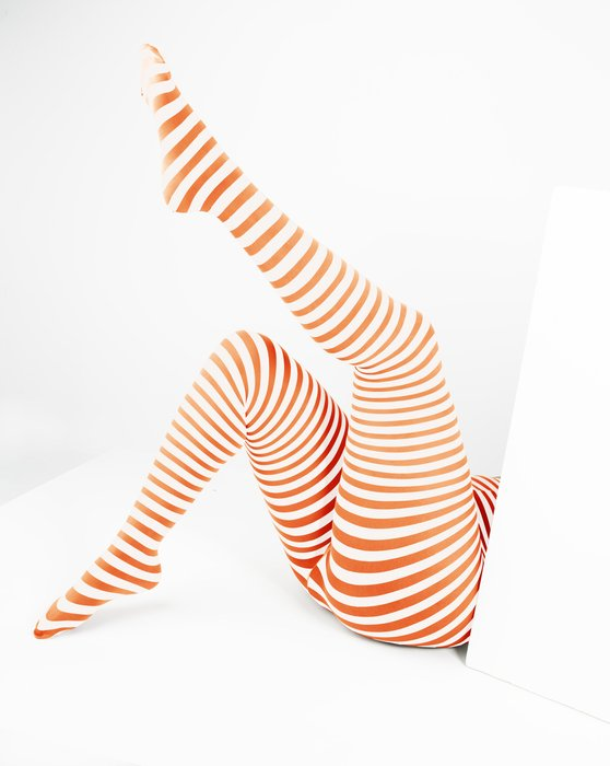 Orange White Plus Sized Striped Tights Style# 1204 | We Love Colors