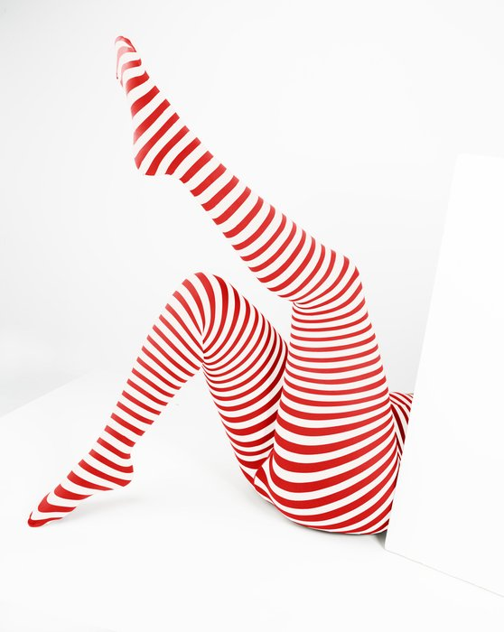 Scarlet-Red Womens White Plus Sized Striped Tights Style# 1204 | We Love Colors
