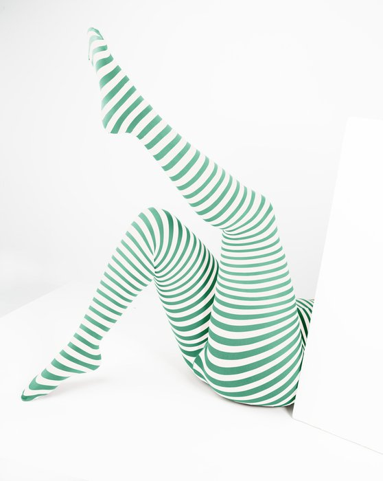 Scout Green White Plus Sized Striped Tights Style# 1204 | We Love Colors