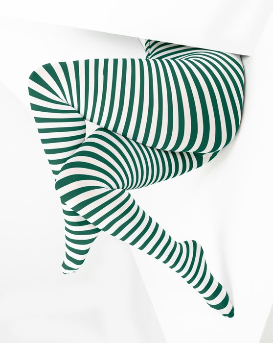 Hunter-Green Womens White Plus Sized Striped Tights Style# 1204 | We Love Colors