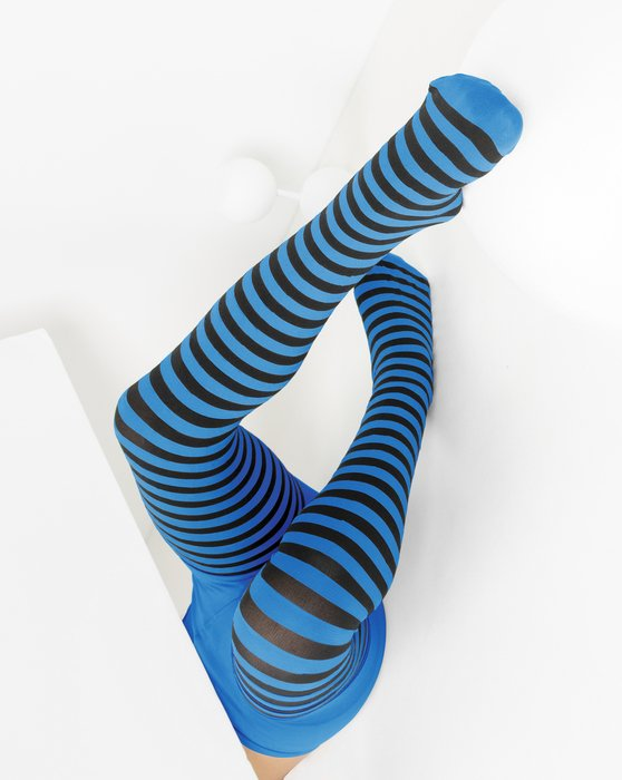 Medium-Blue Kids Striped Tights Style# 1271 | We Love Colors