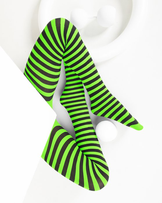 Neon Green Kids Striped Tights Style# 1271 | We Love Colors