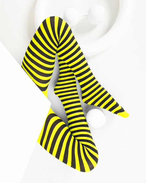 Neon-Yellow Kids Striped Tights Style# 1271 | We Love Colors