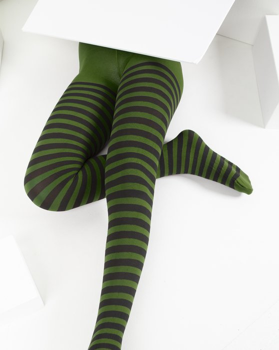 Olive-Green Kids Striped Tights Style# 1271 | We Love Colors