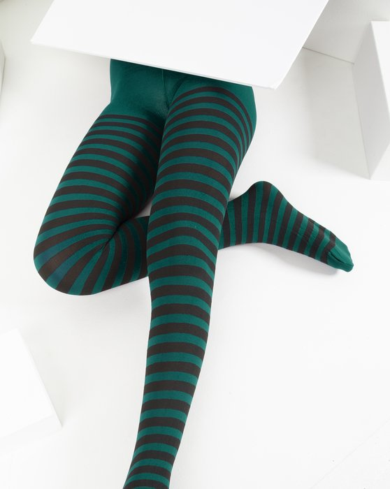 Spruce-Green Kids Striped Tights Style# 1271 | We Love Colors