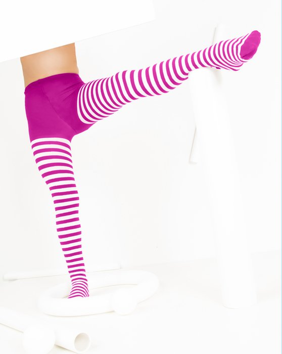 Fuchsia Kids White Striped Tights Style# 1273 | We Love Colors