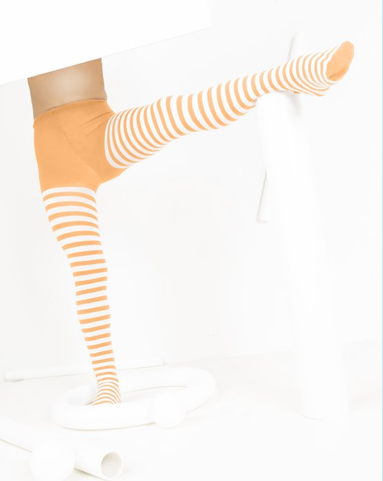 Light-Orange Kids White Striped Tights Style# 1273 | We Love Colors