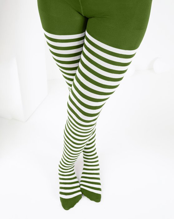 Olive-Green Kids White Striped Tights Style# 1273 | We Love Colors