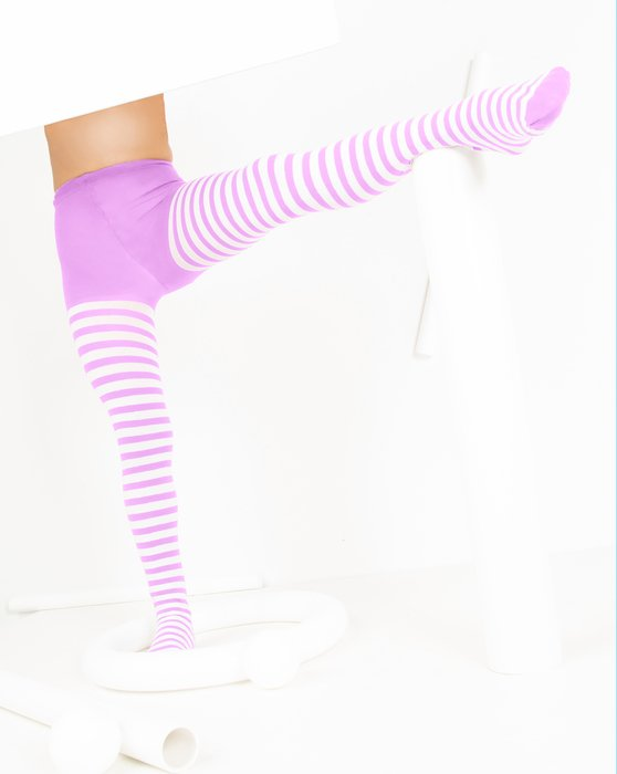 Orchid-Pink Kids White Striped Tights Style# 1273 | We Love Colors
