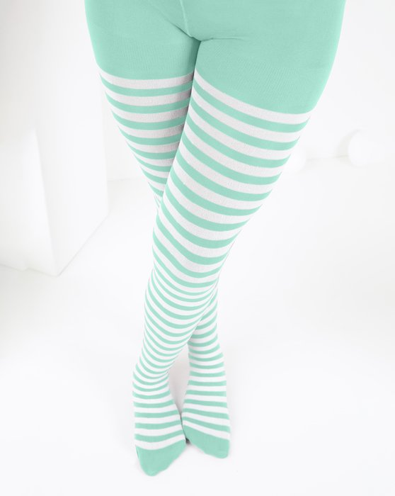 Pastel-Mint Kids White Striped Tights Style# 1273 | We Love Colors