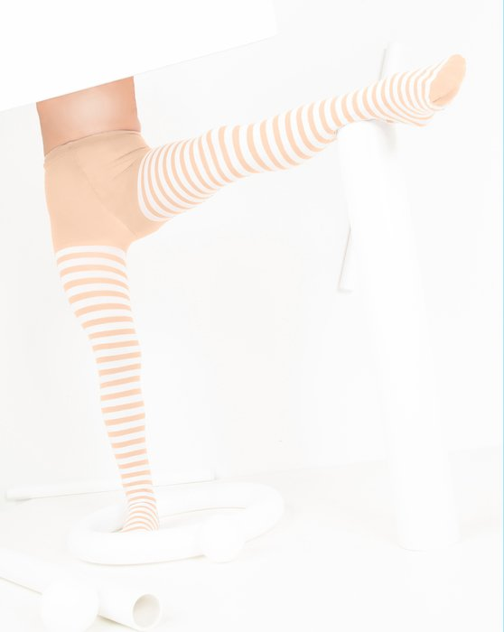 Peach Kids White Striped Tights Style# 1273 | We Love Colors
