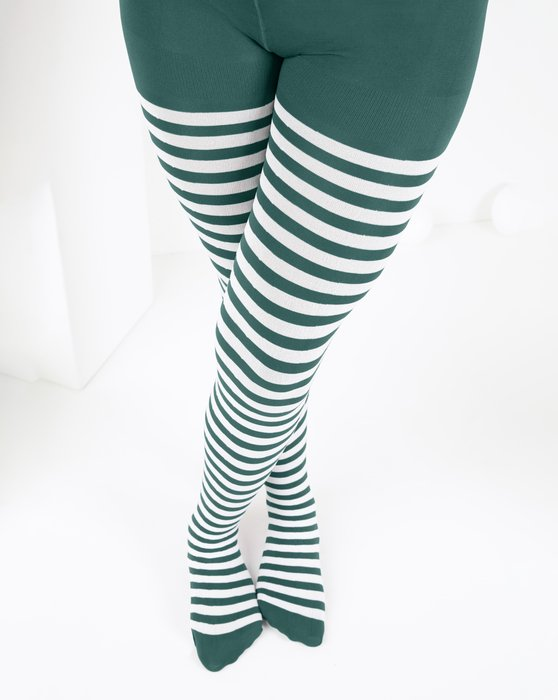Spruce-Green Kids White Striped Tights Style# 1273 | We Love Colors