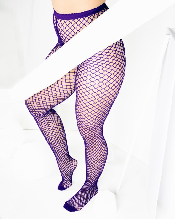 Purple Womens Wide Mesh Fishnet Pantyhose Style# 1403 | We Love Colors