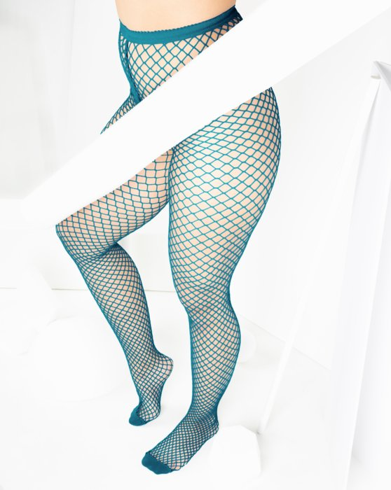 Teal Womens Wide Mesh Fishnet Pantyhose Style# 1403 | We Love Colors