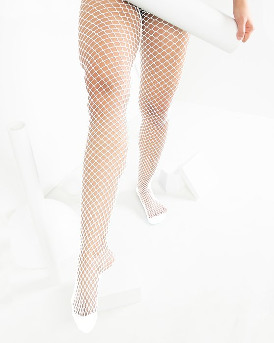 White Womens Wide Mesh Fishnet Pantyhose Style# 1403 | We Love Colors