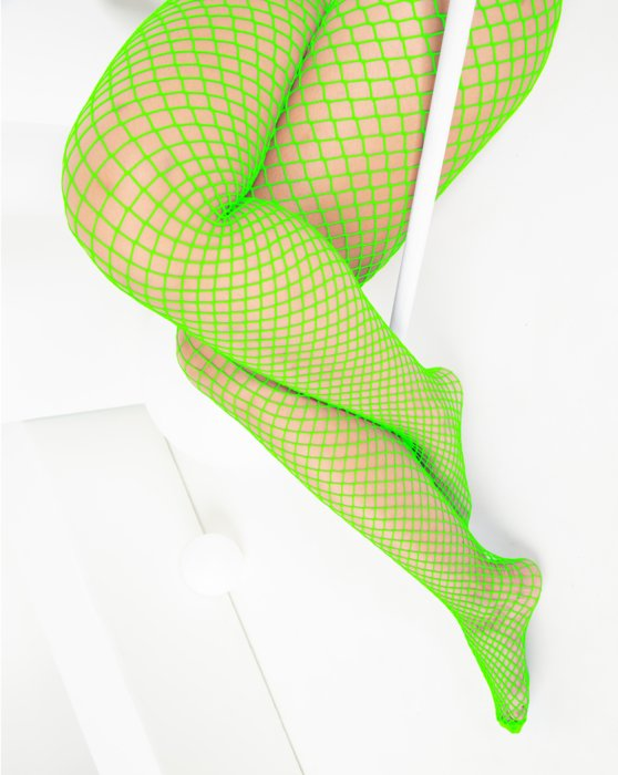 Neon-Green Womens Wide Mesh Fishnet Pantyhose Style# 1403 | We Love Colors