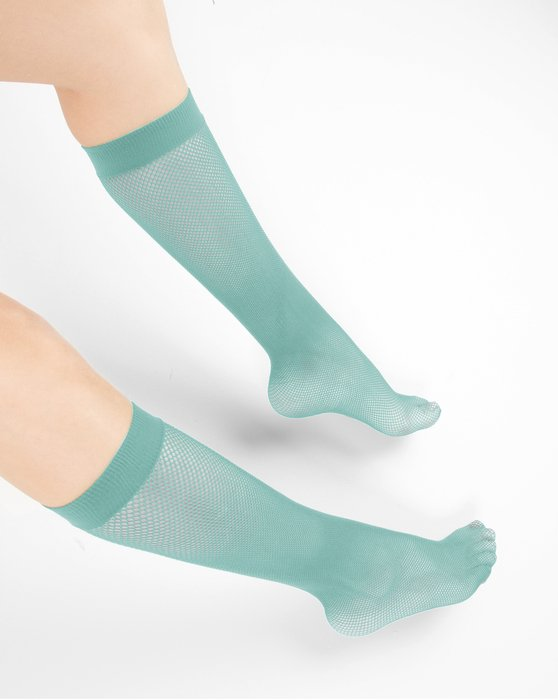 Dusty-Green Womens Fishnet Knee Highs Style# 1431 | We Love Colors