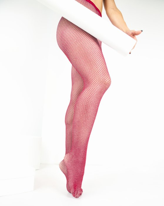 Red Lurex Glitter Fishnet Style# 1451 | We Love Colors