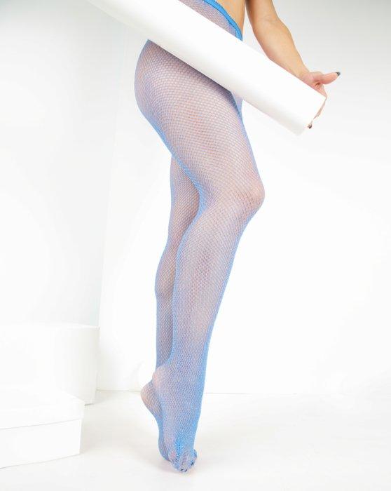 Sky Blue Womens Lurex Glitter Fishnet Style# 1451 | We Love Colors