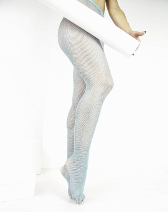 Pastel-Mint Womens Lurex Glitter Fishnet Style# 1451 | We Love Colors