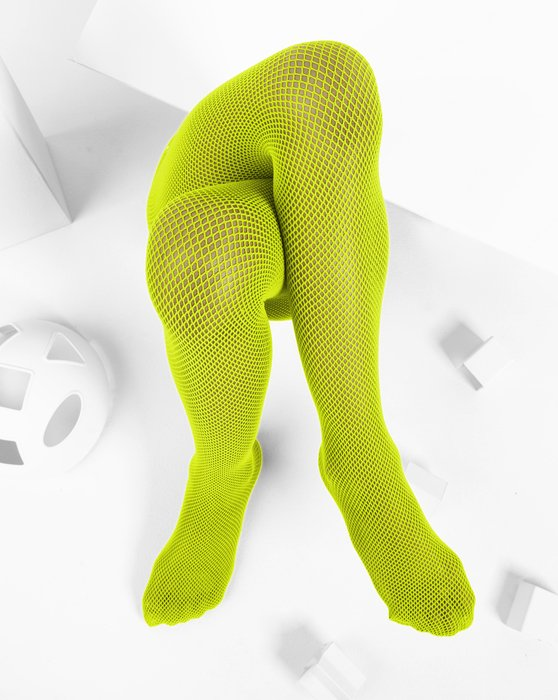 Neon-Yellow Kids Fishnet Pantyhose Style# 1471 | We Love Colors